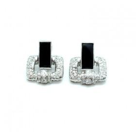 Art Deco Diamond and Onyx Earrings