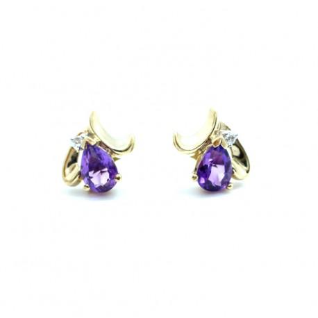 Amethyst Cluster Earrings 9ct gold