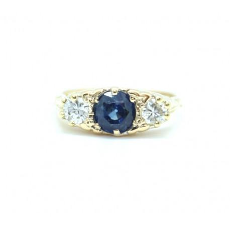 Sapphire and diamond half hoop ring