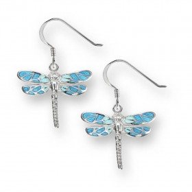 Enamel Drop Dragonfly Earrings