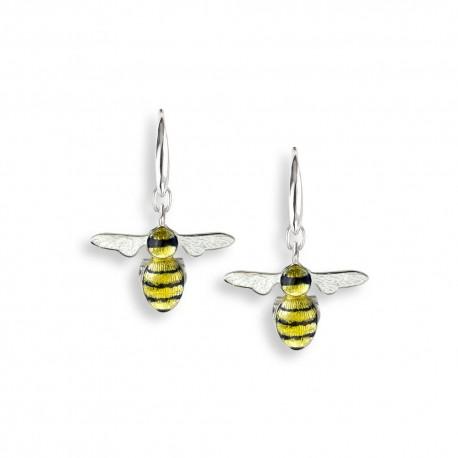 Enamel Bee Drop Earrings