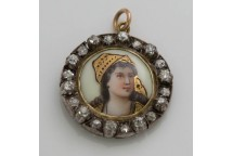 Enamel Portrait With Diamonds