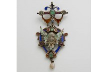 Enamelled Pendant with Gemstones