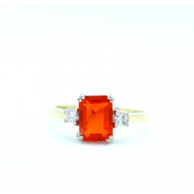 Fire opal and diamond three stone ring