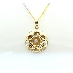Three colour Gold and diamond pendant