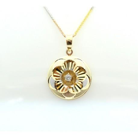 Three colour Gold and diamond pendant
