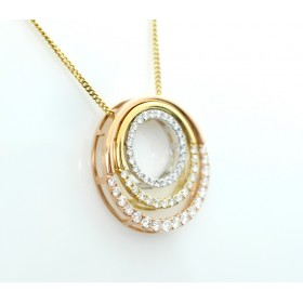 Three shade, gold and diamond pendant
