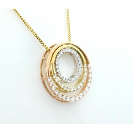 Three shade, gold and diamond pendant