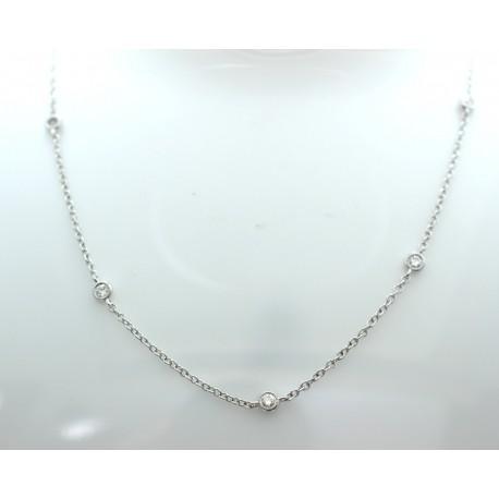 Diamond set white gold chain