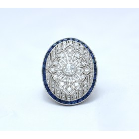 Sapphire and diamond Art Deco style ring