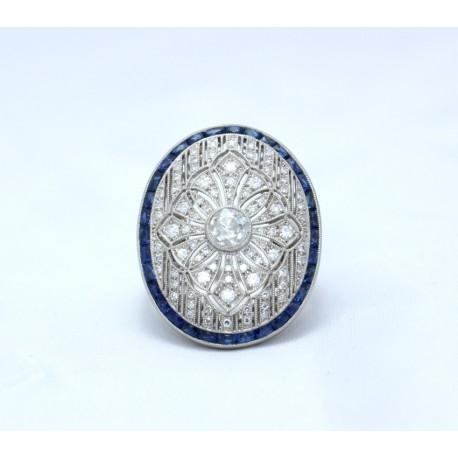 Sapphire and diamond Art Deco style ring