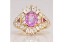 Striking Pink Sapphire Cluster Ring