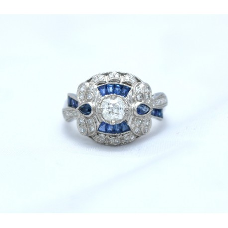 Art Deco style Sapphire and Diamond Cluster Ring