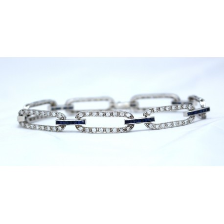 Art Deco Style Sapphire and Diamond Bracelet