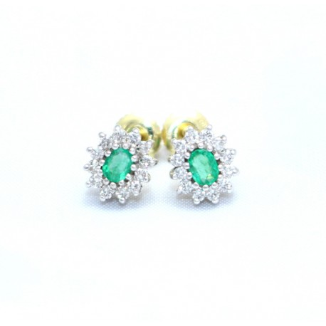 Emerald and diamond cluster stud earrings