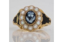Flower Cameo Mourning Ring