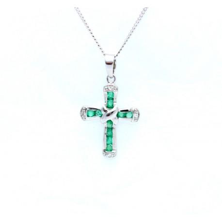 Emerald and diamond cross