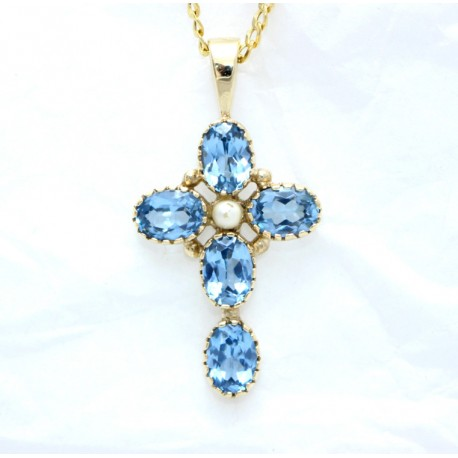 Topaz and Pearl  Cross