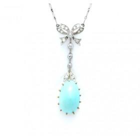 Edwardian Diamond and turquoise pendant