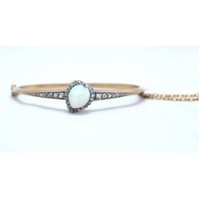 Edwardian opal and diamond bangle