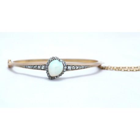 Edwardian opal and diamond bangle