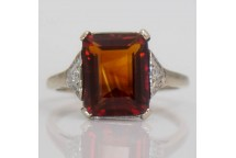 Garnet Ring with Diamond Shoulders
