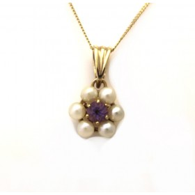 Pearl and amethyst pendant