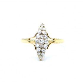 Marquee shaped diamond ring