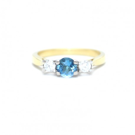 Aquamarine and diamond three stone