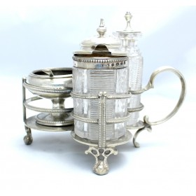 Antique 19th Century Victorian Solid Silver Cruet Set London 1878