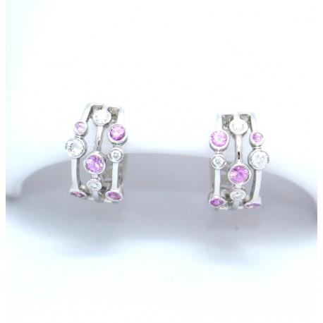 Diamond and Pink sapphire raindance earrings