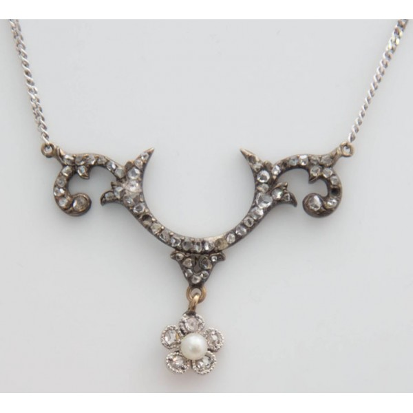 eda462791 Diamond and Pearl Necklace. £ 780.00