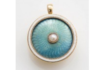 Enamel and Pearl Pendant