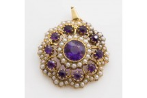 Amethyst and Seed Pearl Pendant