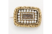 Yellow Gold and Pearl Mourning Brooch