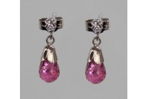Diamond and Pink Tourmaline Drop Earrings