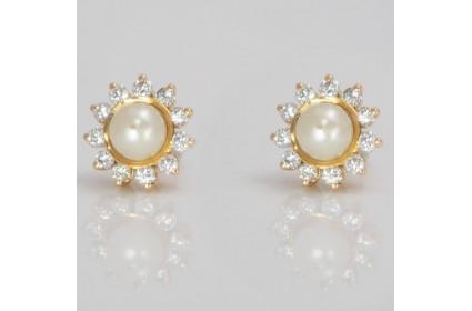Pearl & Diamond Stud Earrings