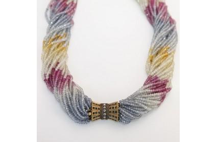 Multi-Strand Sapphire Bead Necklace