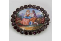 Enamel and Garnet Brooch