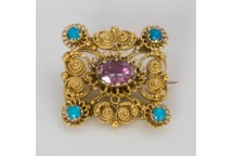 Amethyst & Turquoise Brooch